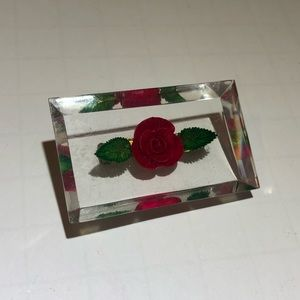 Vintage clear lucite red flower square brooch pin